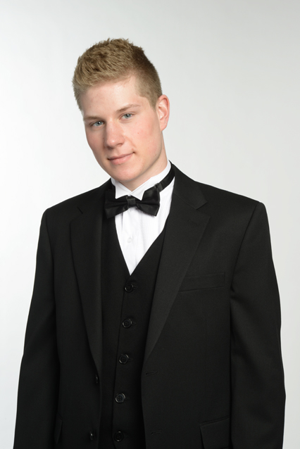 Dress it up with a black suit and Tux shirt