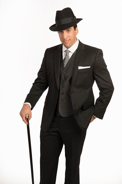 Black Separates Suit by Carelli is perfect for special events with pin dot vest, white twill Damon dress shirt, Silk tie, Black Stetson and Silver handle walking cane.
