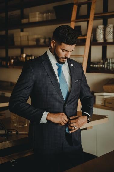 Dark suit young man