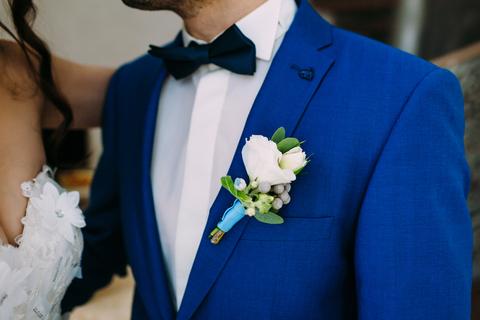Men's blue wedding suit